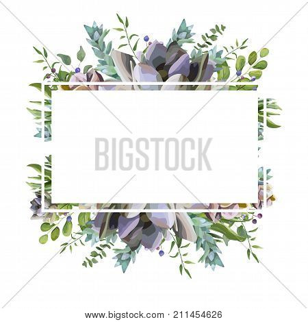Vector card design with Succulent flower plant berry herb leaf mix watercolor hand drawn beautiful bouquet. Elegant postcard greenery wedding invite. Lovely echeveria cactus border text space frame