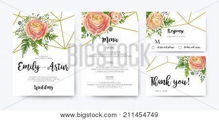 Wedding Invitation floral invite card Design: pink peach rose Ranunculus elegant wax flowers blue berry Eucalyptus forest fern greenery bouquet geometric golden border print. Vector illustration set
