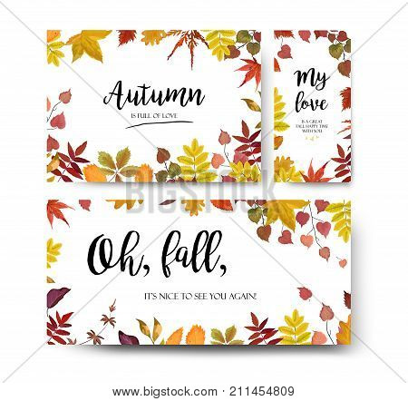 Vector floral watercolor style card design Autumn season border frame set: colorful orange yellow burgundy red fall tree leaf branch. Postcard party banner poster wedding invite menu card template
