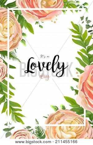 Vector floral watercolor style card design: pink peach rose Ranunculus flowers Eucalyptus greenery fern frond leaves natural frame border. Vector invite poster banner postcard delicate copy space