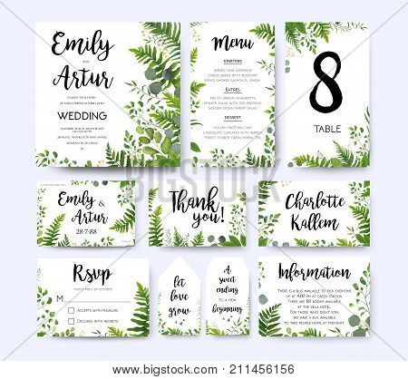 Wedding invite invitation menu rsvp thank you card vector floral greenery design: Forest fern frond Eucalyptus branch green leaves foliage herbs greenery berry frame border. Watercolor template set