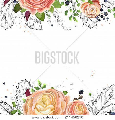 Vector floral watercolor card design: pink peach rose Ranunculus flowers Eucalyptus greenery fern leaf bird line drawn graphic feathers frame border. Vector cute invite postcard elegant copy space