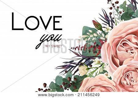 Vector floral watercolor style card design: Lavender antique pink garden Rose Eucalyptus greenery thyme agonis colorful leaf berry frame border. Vector bohemian vintage wedding invite & love you text