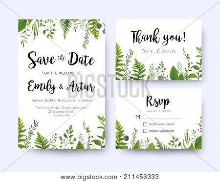 Wedding invite invitation menu rsvp thank you card vector floral greenery design: Forest fern frond Eucalyptus branch green leaves foliage herbs greenery leaf frame border. Watercolor template set