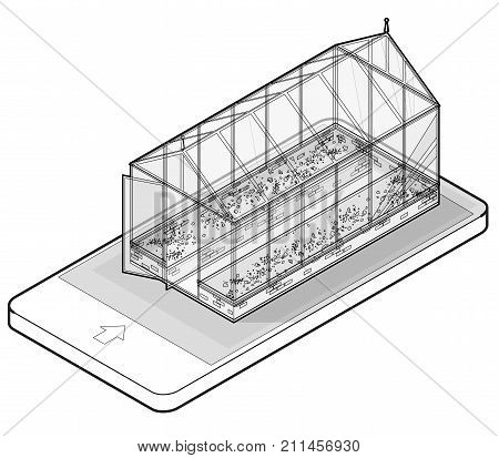 Outlined vector isometric greenhouse with glass walls in mobile phone, isometric. Horticultural conservatory and growing vegetables, flowers in communication technology. Isolated, white background.