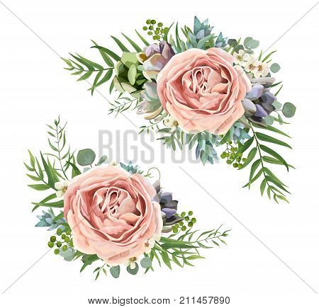 Vector floral bouquet design: garden pink peach lavender Rose wax flower Eucalyptus branch green fern palm leaves succulent berry. Wedding vector invite illustration Watercolor designer element set