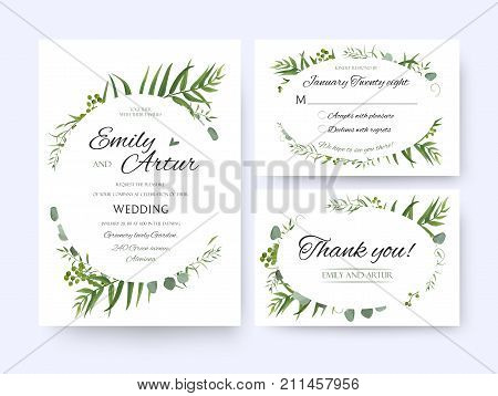 Wedding invite invitation rsvp thank you card vector floral greenery design: Forest fern frond palm leaf Eucalyptus branch green berries foliage herbs elegant oval frame border. Watercolor cute set