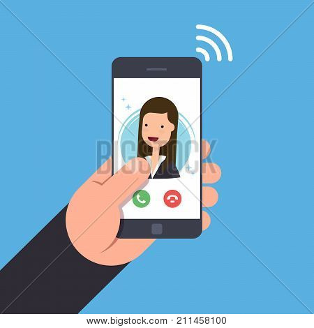 Concept of an incoming call on a mobile phone. Businesswoman or manager calls on the smartphone. Accept or reject the incoming call. Vector flat illustration