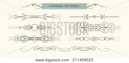 Vector hand drawn flourishes dividers graphic High quality design elements set. Cute vintage borders. Wedding invitaion cards page decoration. calligraphy swirls swashes ornate motifs & scrolls.