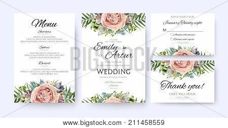 Wedding Invitation floral invite card Design: garden lavender pink peach Rose Succulent wax green palm fern leaves elegant greenery berry forest bouquet frame print. Vector menu rsvp thank you set