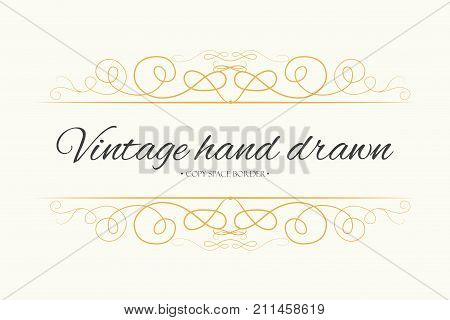 Vector hand drawn flourishes text divider graphic design element. Designer vintage golden line border frame. Wedding invitation visit card page decoration. Calligraphy elegant swirls ornate motifs
