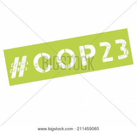 Rubber stamp with text COP 23 illustration