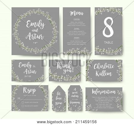Wedding floral invitation invite flower card silver gray design: garden Baby's breath Gypsophila tiny flower wreath romantic rsvp menu label thank you cards. Vector romantic print. Elegant template