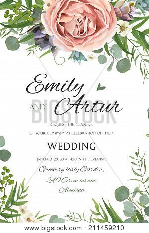 Wedding Invitation invite save the date floral card vector Design: garden lavender pink peach Rose Succulent wax green palm leaves elegant greenery eucalyptus forest bouquet wreath frame border print