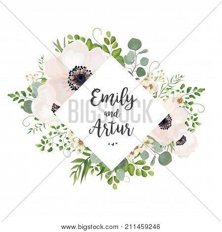 Vector floral wedding invite card design: Eucalyptus silver dollar branch greenery foliage natural leaves rhombus frame in watercolor style. Vector decorative rustic invitation postcard elegant cute
