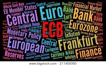 ECB word cloud concept with a black background