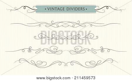 Vector hand drawn flourishes text divider graphic design element set. Designer art vintage border Wedding invitation card page decoration. Calligraphy tender swirls vintage elegant style motif