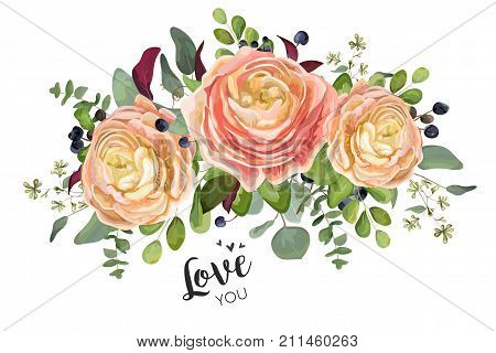 Vector floral card design: garden peach rose Ranunculus flowers Eucalyptus branch green forest fern leaf blue berry bouquet. Wedding vector invite illustration in Watercolor style Romantic copy space