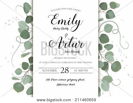 Wedding floral hand drawn invite invitation card design: Eucalyptus silver dollar branch greenery natural leaves watercolor style rustic elegant delicate green anniversary copy space beauty template