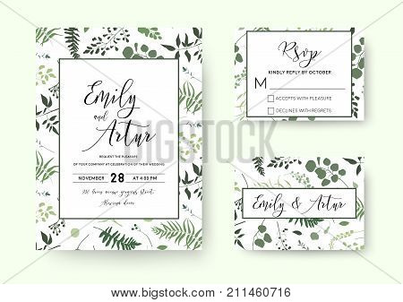 Wedding invite invitation rsvp card vector floral greenery silhouette design: palm fern tree foliage natural branches green leaves herbs berries tropical heel hand drawn silhouette Watercolor set