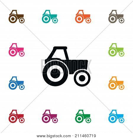 Agronomy Vector Element Can Be Used For Agronomy, Combine, Harvester Design Concept.  Isolated Farm Vehicle Icon.
