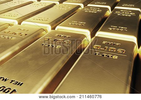 Shiny Gold Bars, weight of Gold Bars 1000 grams Concept of wealth and reserve. Concept of success in business and finance, 3d illustration