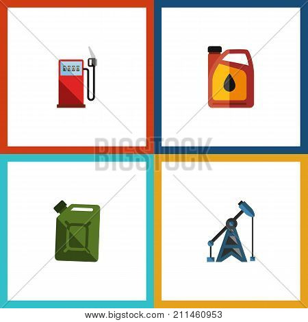 Flat Icon Fuel Set Of Petrol, Rig, Fuel Canister And Other Vector Objects