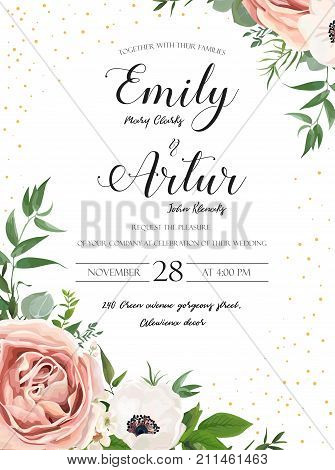 Wedding floral invite invitation card design: Rose pink lavender flower white anemones wax Eucalyptus branch greenery leaves watercolor style rustic delicate green anniversary copy space template