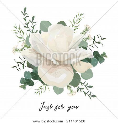 Flower Bouquet floral bunch vector design object element. White pale creamy Rose peony flower Eucalyptus greenery leaves thyme herb rice flower mix rustic elegant wedding card. All elements editable