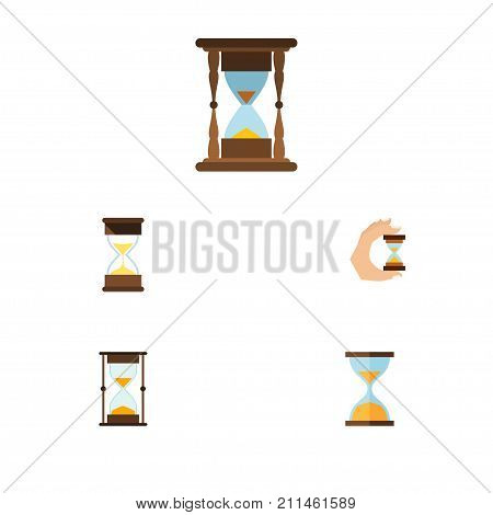 Flat Icon Timer Set Of Sandglass, Minute Measuring, Clock Vector Objects