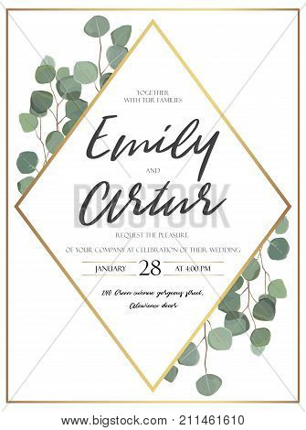 Vector floral design card with watercolor eucalyptus tree green leaves branch plant greenery. Natural botanical Greeting wedding invitation invite. Geometrical rhombus golden Frame border & copy space