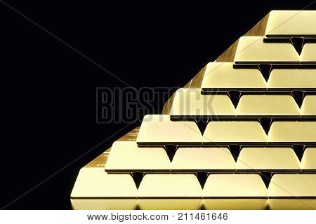 Stack close-up Gold Bars, weight of Gold Bars 1000 grams Concept of wealth and reserve. Concept of success in business and finance. 3d rendering