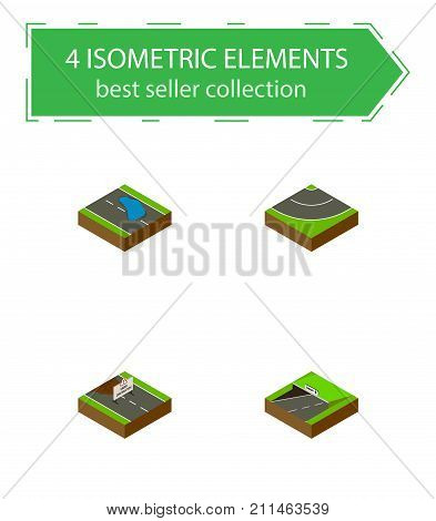 Isometric Road Set Of Subway, Road, Plash And Other Vector Objects
