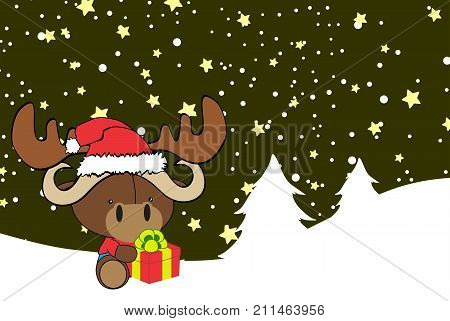 cute baby ox cartoon xmas background in vector format very easy to edit