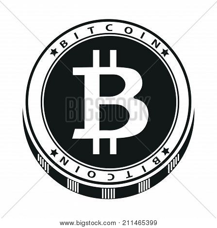 Vector cartoon black icon crypto currency bitcoin in a flat style isolated on a white background. Modern crypto currency. Symbol and logo.