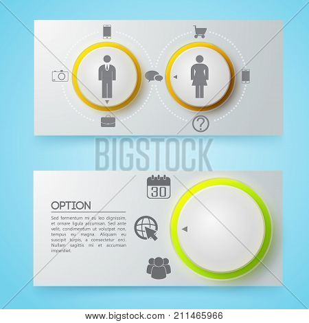 Business conceptual gray horizontal banners with text circles icons on blue background isolated vector illustration