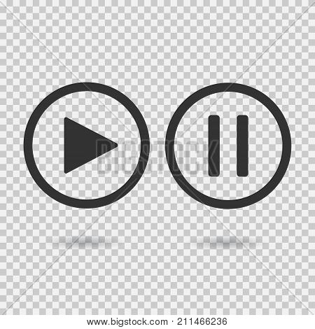 Play button and pause button. Icons with shadow on transparent background. Isolated sign for web. Vector illustration.