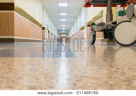 An interior of a hospital hallway