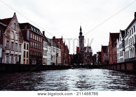 Brugge Canal And City View, Belgium.