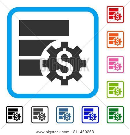 Bank Database Options icon. Flat grey iconic symbol in a blue rounded squared frame. Black, gray, green, blue, red, orange color versions of Bank Database Options vector.