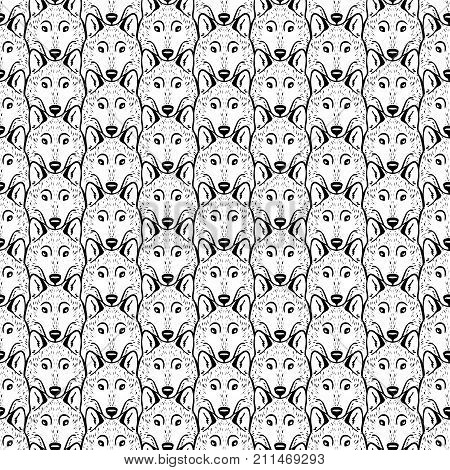 Seamless Pattern - A Flock Of Wolves. Black And White.