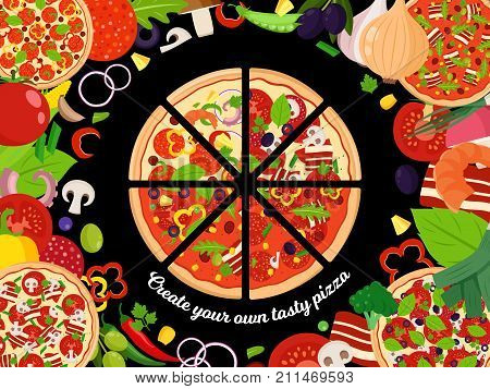 Vector Pizza Illutration With Slices And Many Ingredients