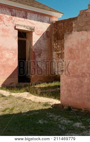 Exterior reconstruction, officer's quarters, Fort Davis National Historical Site, Fort Davis, Texas.
