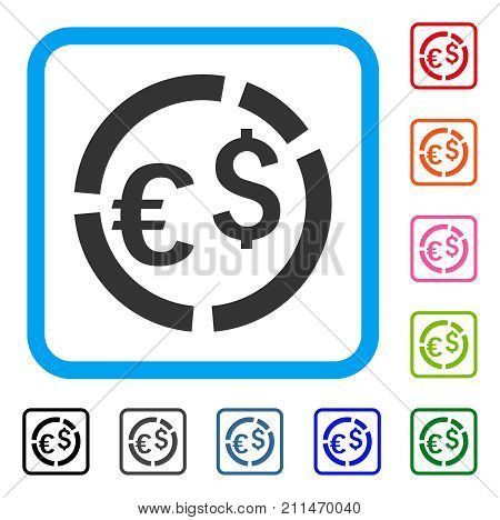 Currency Diagram icon. Flat gray pictogram symbol inside a blue rounded square. Black, gray, green, blue, red, orange color variants of Currency Diagram vector. Designed for web and application UI.
