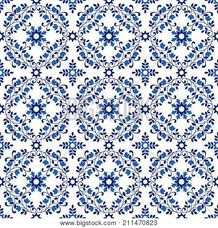 Seamless pattern. Portuguese tiles motives of white and blue colors. Can be used for wallpaper pattern fills web page background surface textures interior. Vector illustration