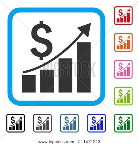 Financial Growth Bar Chart icon. Flat grey iconic symbol inside a blue rounded frame. Black, gray, green, blue, red, orange color versions of Financial Growth Bar Chart vector.