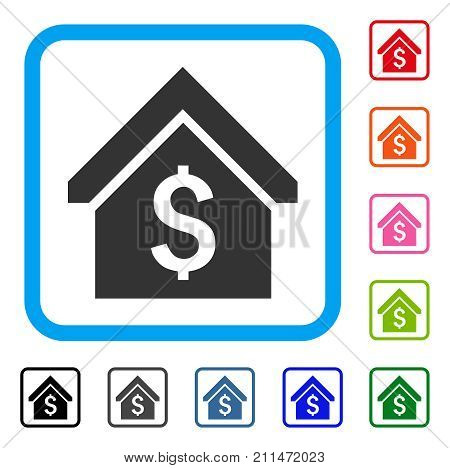 Loan Mortgage icon. Flat grey iconic symbol inside a blue rounded frame. Black, gray, green, blue, red, orange color variants of Loan Mortgage vector. Designed for web and app interfaces.