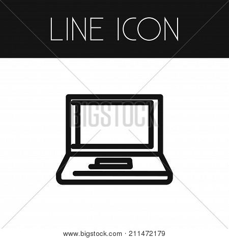 Notebook Vector Element Can Be Used For Notebook, Computer, Desktop Design Concept.  Isolated Desktop Outline.