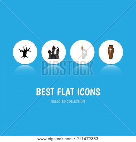 Flat Icon Halloween Set Of Terrible Halloween, Fortress, Casket And Other Vector Objects