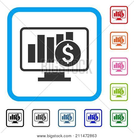 Stock Market Monitoring icon. Flat grey pictogram symbol in a blue rounded frame. Black, gray, green, blue, red, orange color variants of Stock Market Monitoring vector.